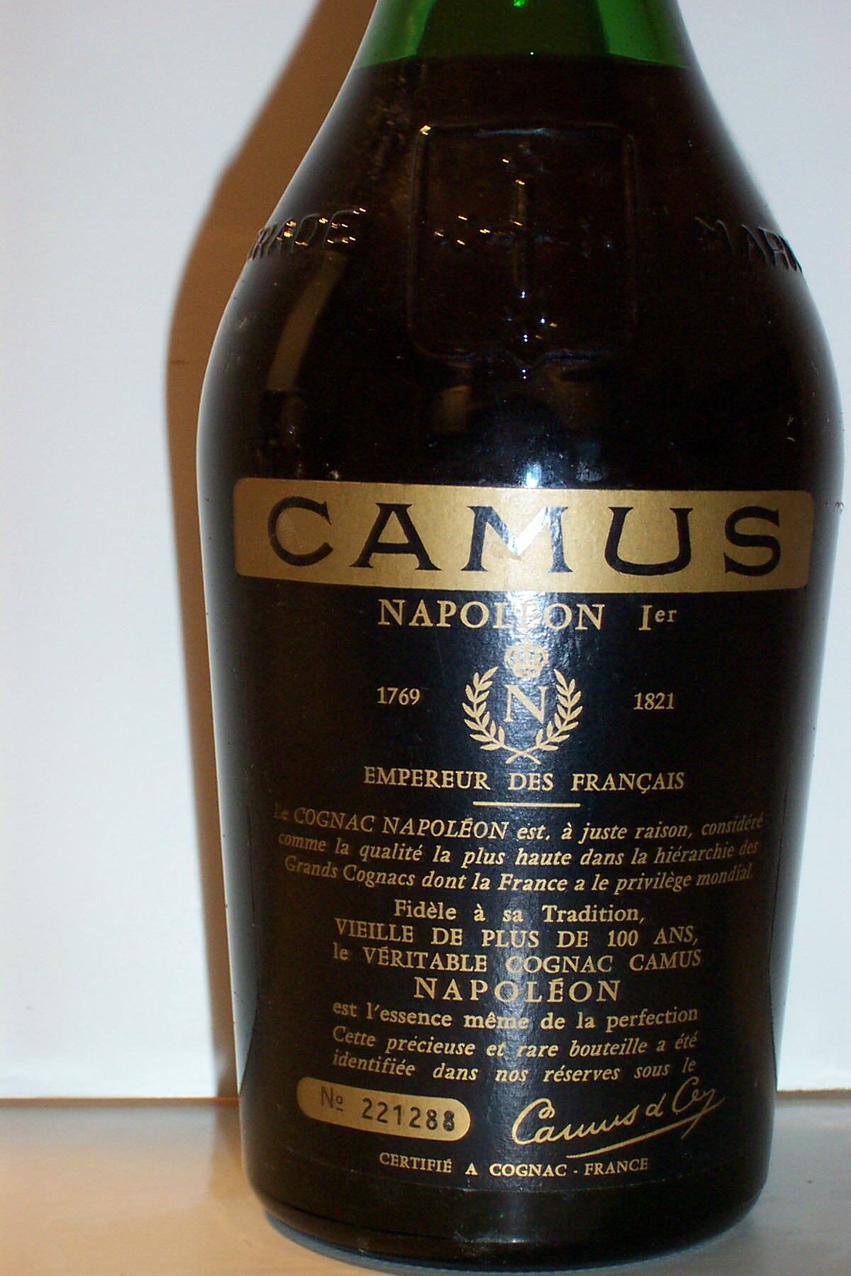 Cognac Camus backside label