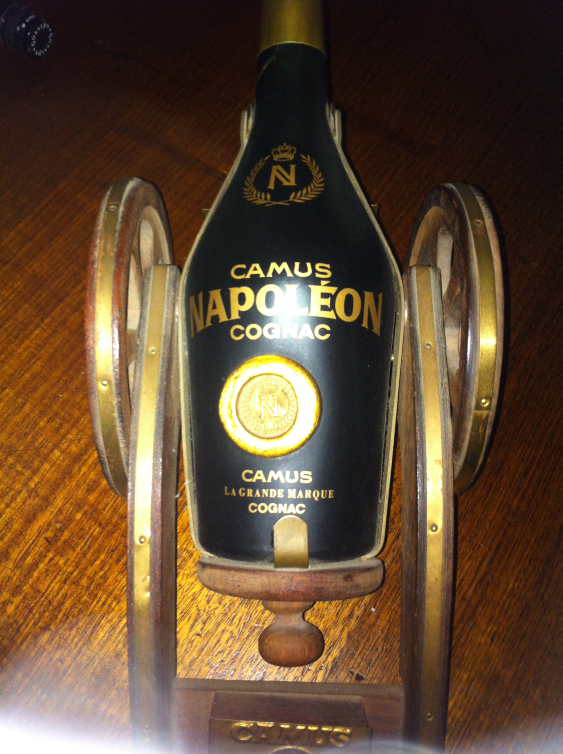 Rare Camus Cognac Bottle in wooden trolley