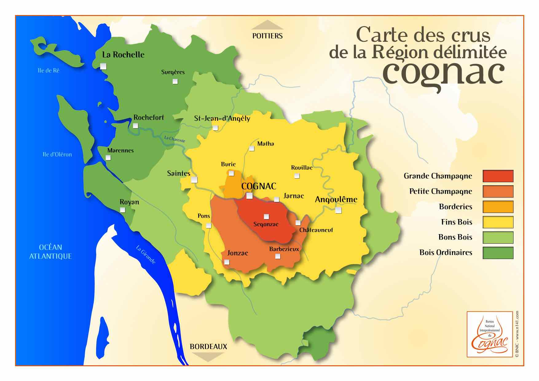 Six parts of the cognac region grande champagne to bois for Champagne region in france